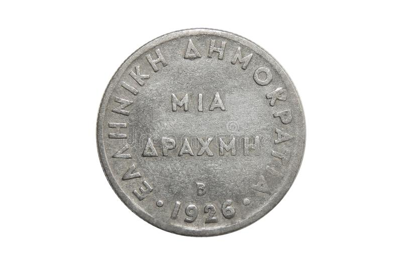 Coin Greece 1 drachma. 1926 stock image