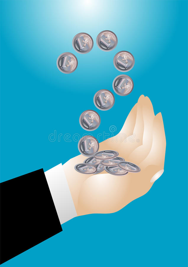 Download Coin in the hand stock vector. Image of wages, image - 25868448