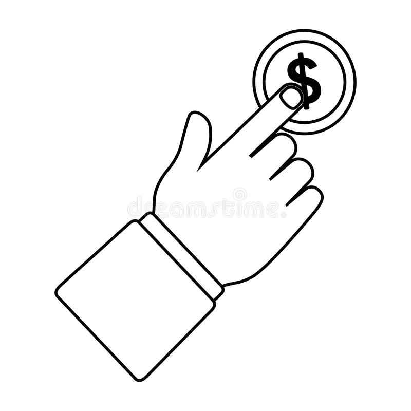 Coin and hand design. Coin design, Money financial item commerce market payment  invest and buy theme Vector illustration vector illustration