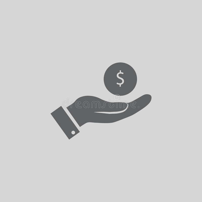 Coin in hand icon. Sign symbol vector illustration royalty free illustration