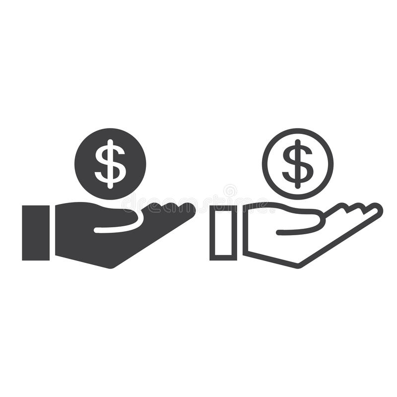 Coin in hand line icon, earnings outline and solid vector sign, stock illustration