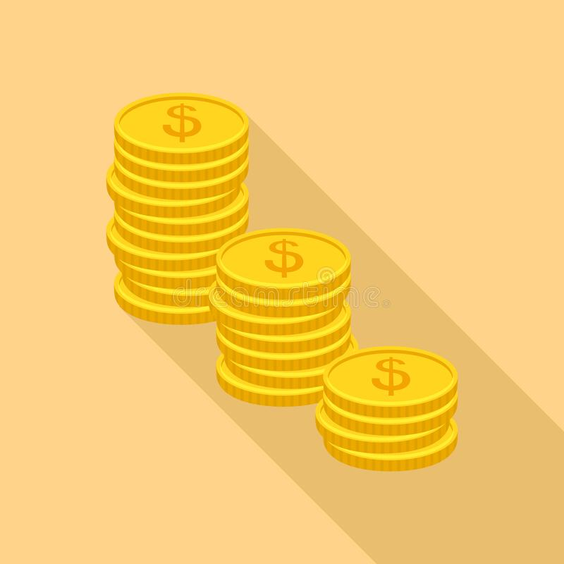 Coin heap icon, flat style. Coin heap icon. Flat illustration of coin heap vector icon for web royalty free illustration