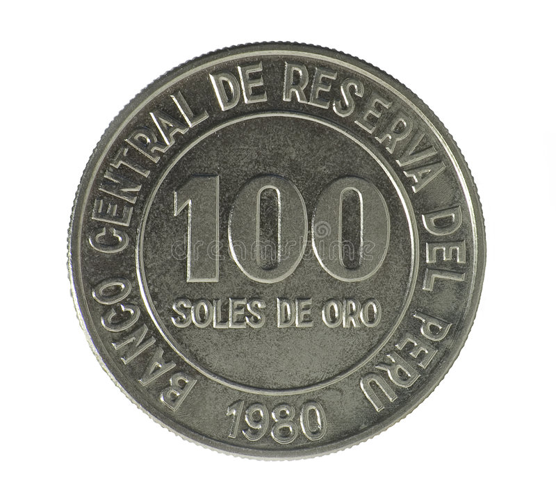 Coin. Hundred Soles de oro. Peru. Avers stock photos