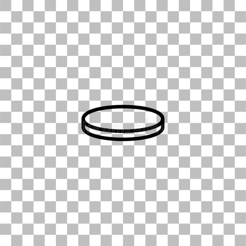 Coin icon flat. Coin. Black flat icon on a transparent background. Pictogram for your project royalty free illustration