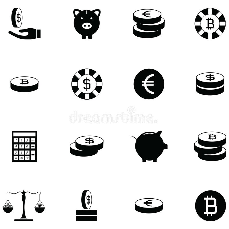 Coin icon set. The coin of icon set royalty free illustration