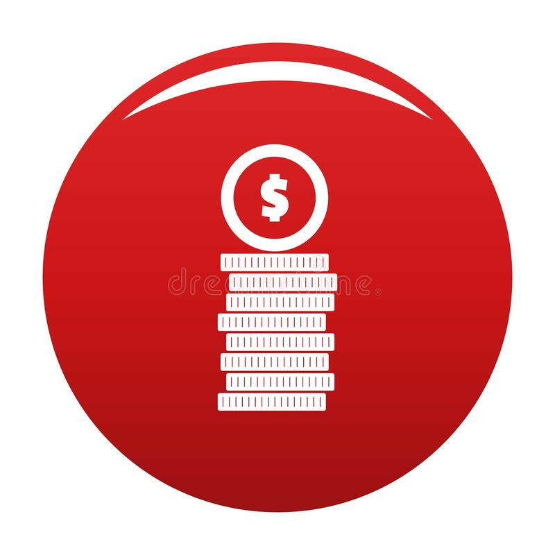 Coin icon vector red. Coin icon. Simple illustration of coin vector icon for any design red vector illustration