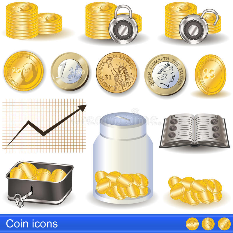 Download Coin icons stock vector. Illustration of gold, money - 31504754