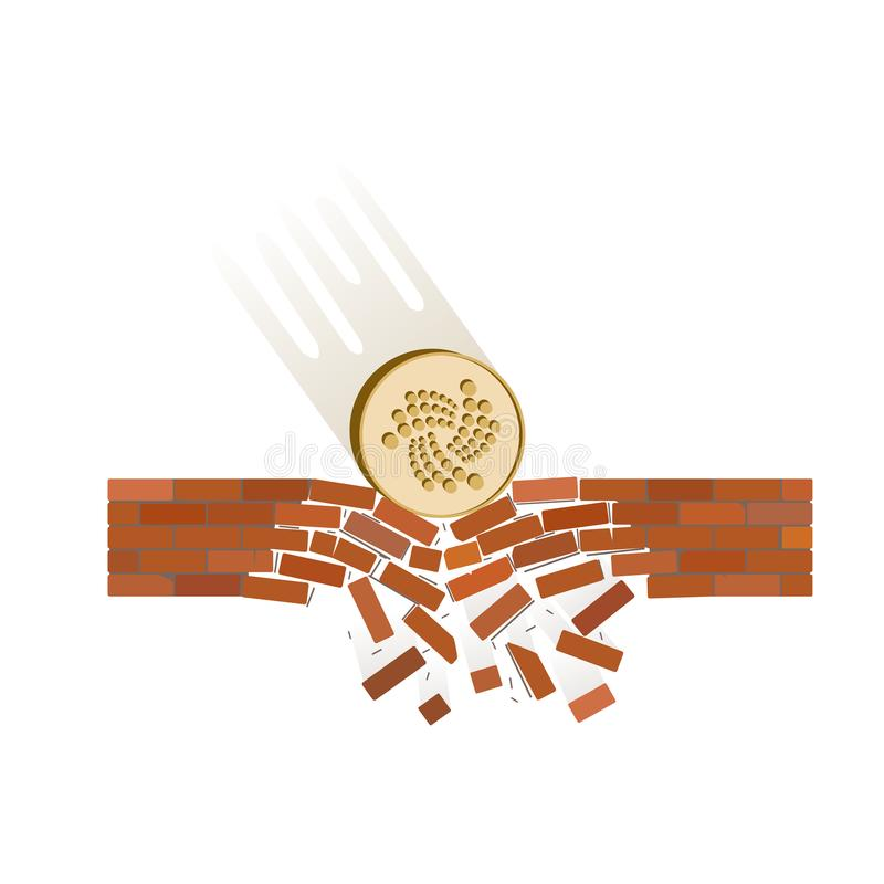 Coin of iota fall down on a white background. Crypto currency breaks through the brick wall of support , vector image design concept stock illustration