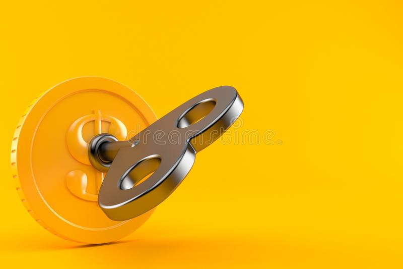 Coin with key. Isolated on orange background. 3d illustration royalty free illustration