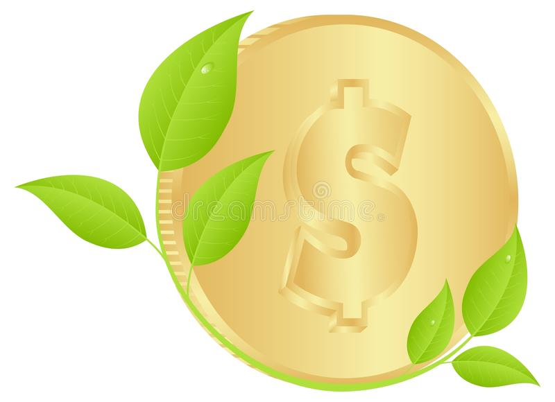 Coin with leaves vector illustration