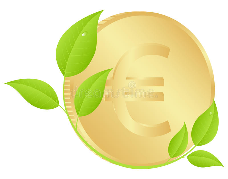 Coin with leaves. Gold coin with green sprouts and leaves. Vector illustration, isolated on a white vector illustration