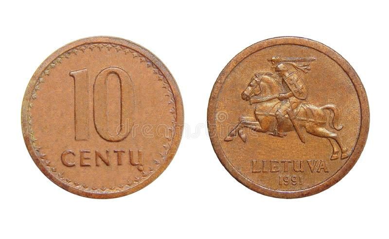 Coin Lithuania 10 cents. Numismatics of coins of the world royalty free stock photo
