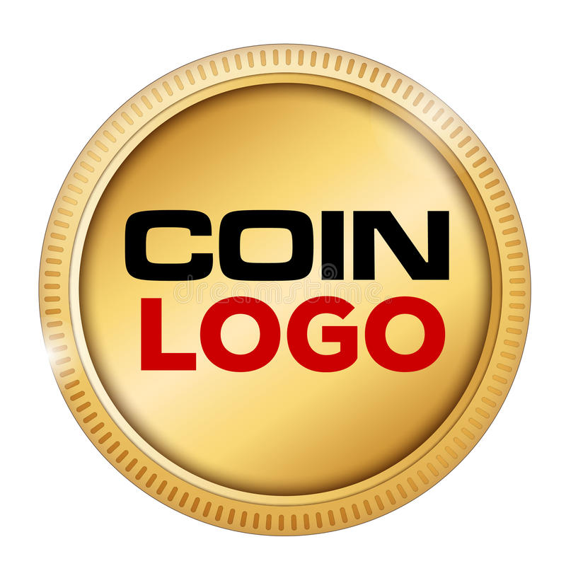 Coin logo. Logo in a gold coin isolated on white stock illustration