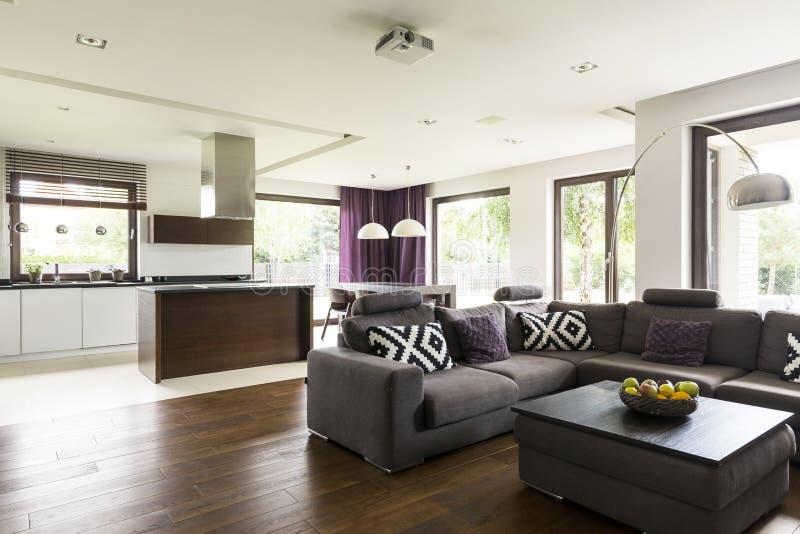 Coin Moderne Confortable De Salon Photo stock - Image du diner, home ...