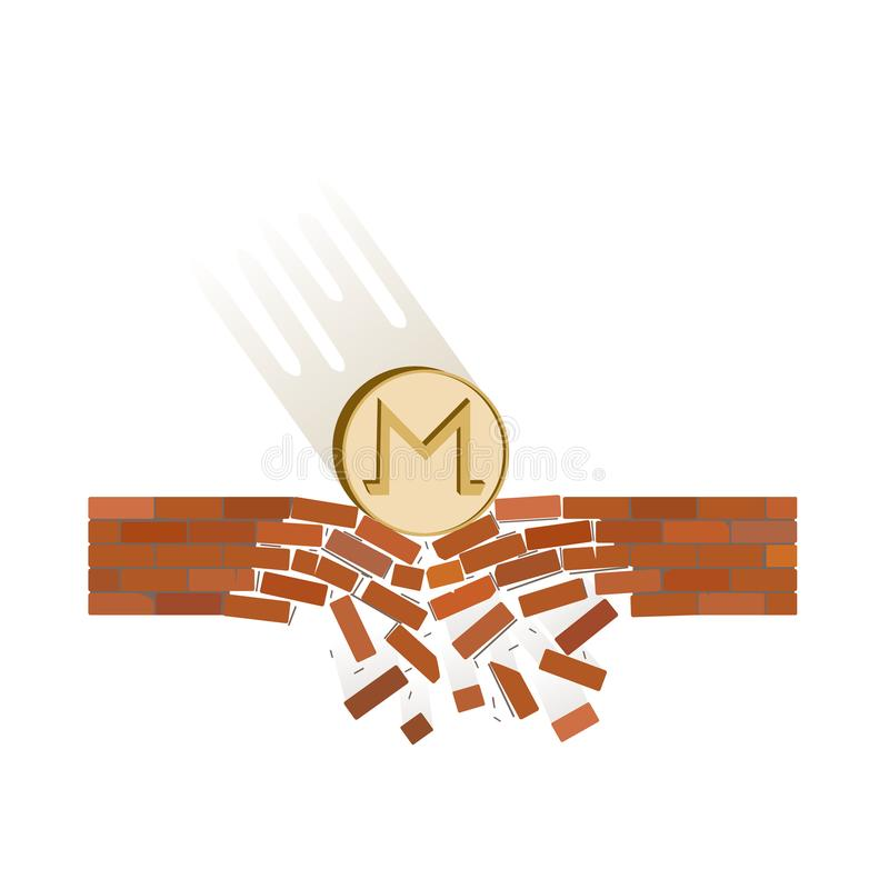 Coin of monero fall down on a white background. Crypto currency breaks through the brick wall of support , vector image design concept vector illustration