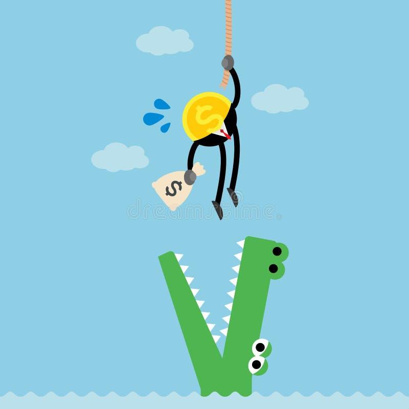 Coin money climb rope escape crocodile vector illustration