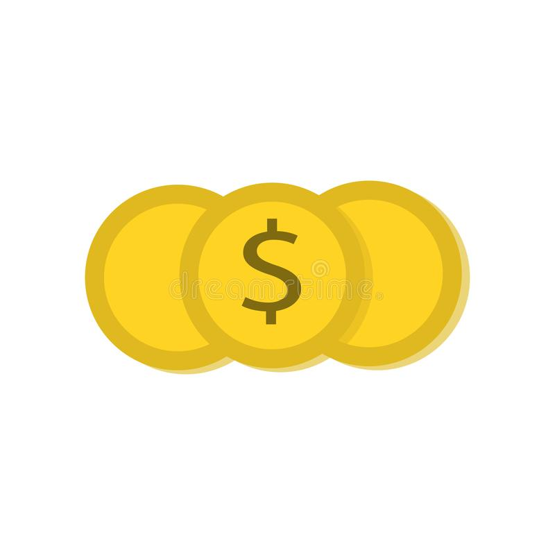 Coin money icon. With simple dollar flat icon vector design royalty free illustration