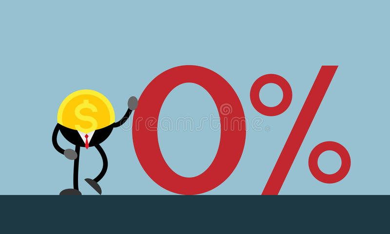 Coin money lean on red zero percent royalty free illustration