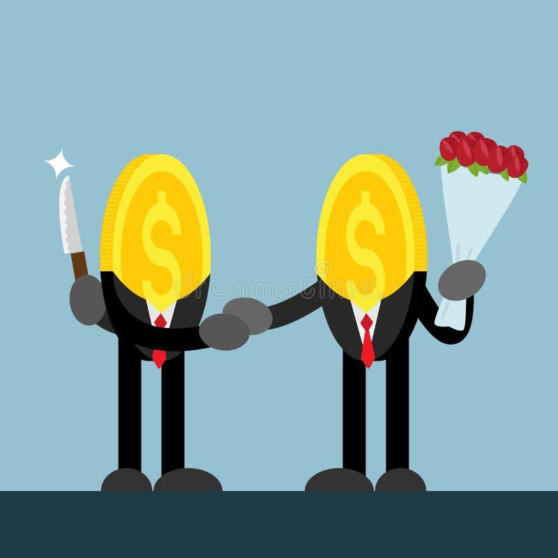 Coin money shake hand. hide knife. give flower stock illustration