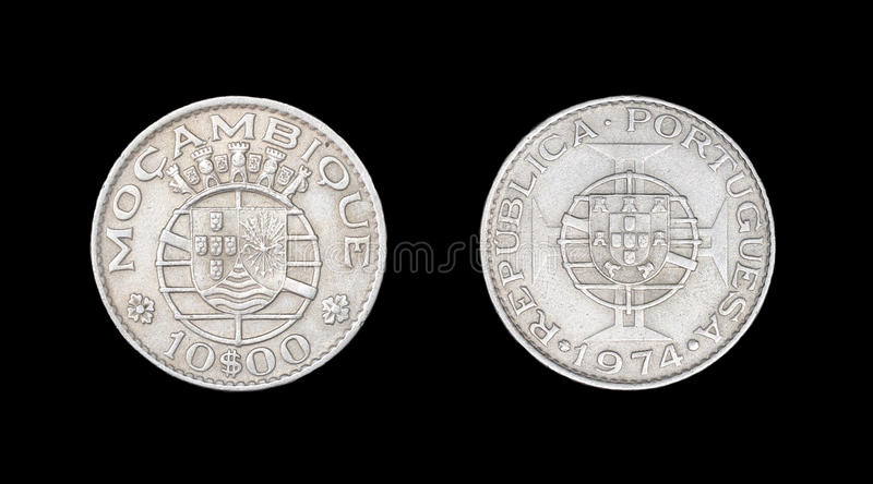 Coin of Mozambique. Obverse and reverse stock photo