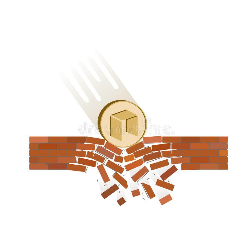 Coin of neo fall down on a white background. Crypto currency breaks through the brick wall of support , vector image design concept royalty free illustration