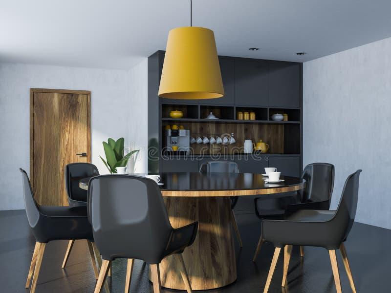 Coin noir et en bois confortable de salle à manger illustration libre de droits