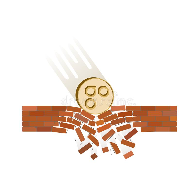 Coin of omisego fall down on a white background. Crypto currency breaks through the brick wall of support , vector image design concept stock illustration