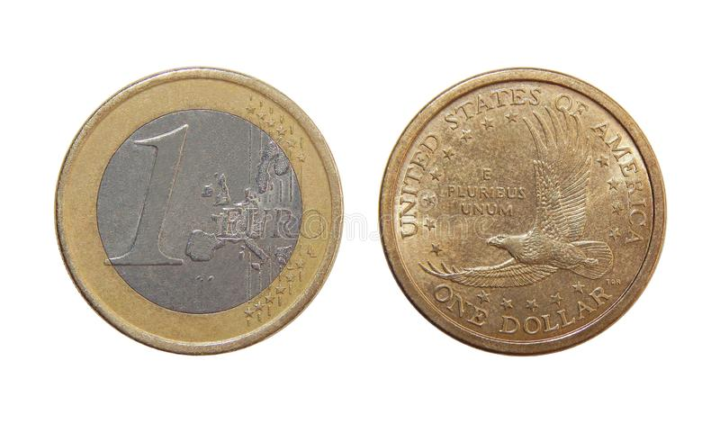 Coin one Euro, one dollar royalty free stock photography