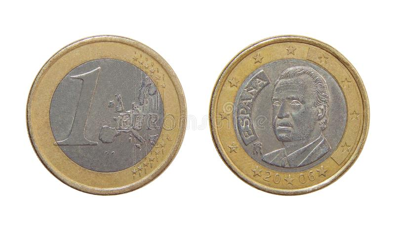 Coin one euro spain stock image