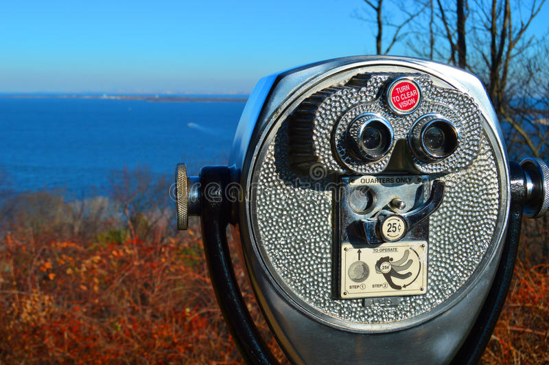 Coin Operated Binoculars. Coin Binoculars Overlooking the Bay and New York City royalty free stock photos