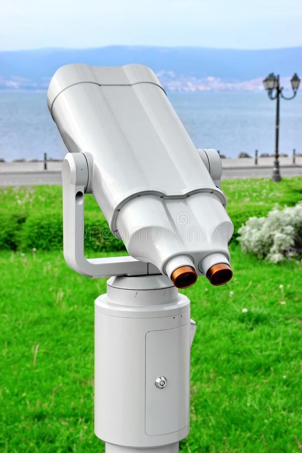 Coin Operated Sea Binoculars. Coin Operated Touristic Binoculars at sea shore royalty free stock image