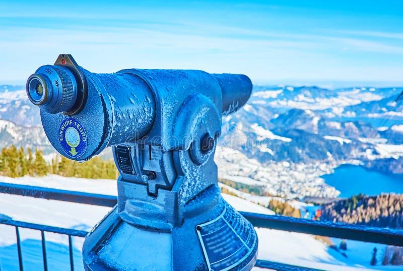 Coin-operated telescope on top of Zwolferhorn, St Gilden, Salzkammergut, Austria. The viewpoint of Zwolferhorn mount is equipped with coin-operated telescope stock photos