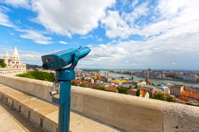 Coin operated touristic telescope to view Danube river on Fisherman`s Bastion, Budapest, Hungary. Coin operated touristic telescope to view Danube river on stock image