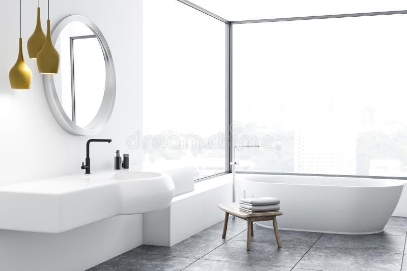 Coin panoramique de salle de bains, baquet blanc et évier illustration stock