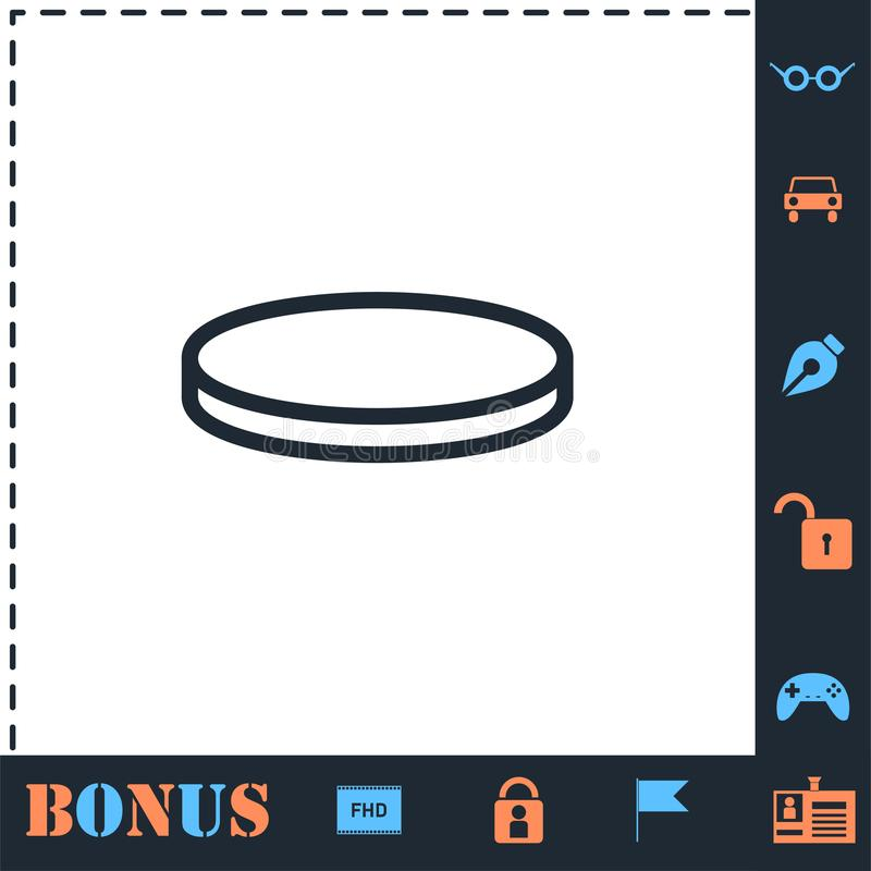 Coin icon flat royalty free illustration