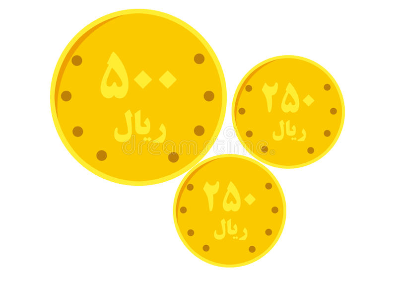 Coin. With persian number and alphabet royalty free illustration