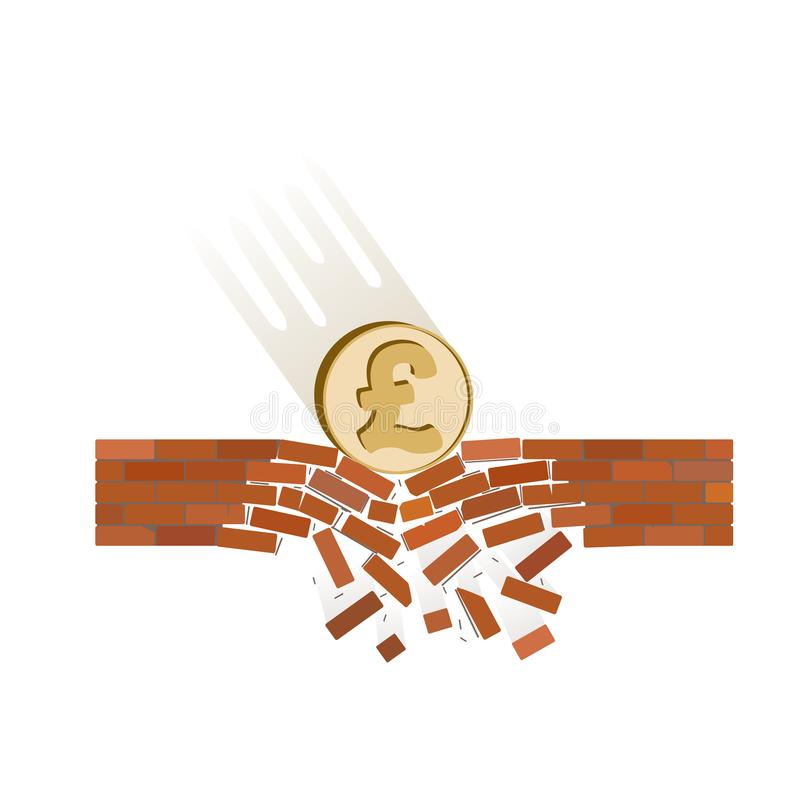 Coin of pound fall down on a white background. Coin of british pound fall down on a white background , currency breaks through the brick wall of support , vector stock illustration