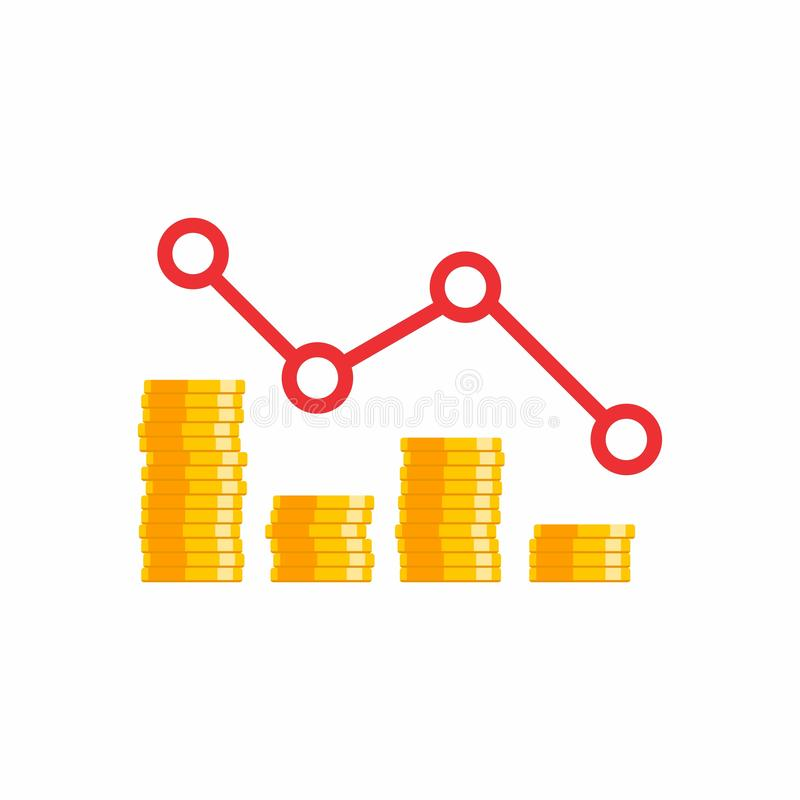 Coin price down graph, Many coins, Flat icon vector illustration