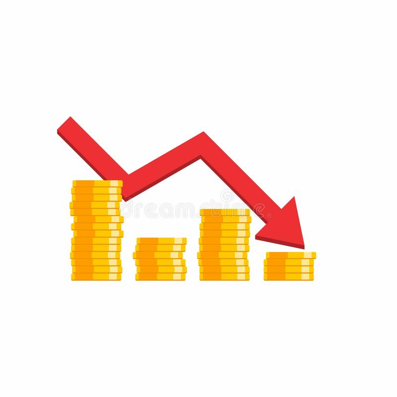 Coin price down graph, Many coins, Flat icon stock illustration