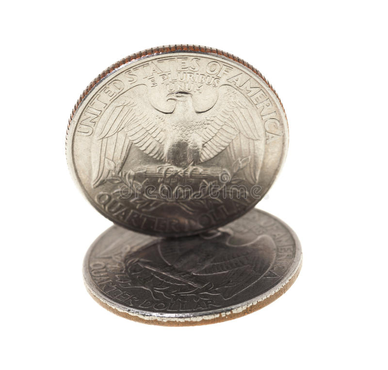 Coin in a quarter of the US dollar. Photographed close-up on white background coin dollar American quarter - twenty-five cents royalty free stock image