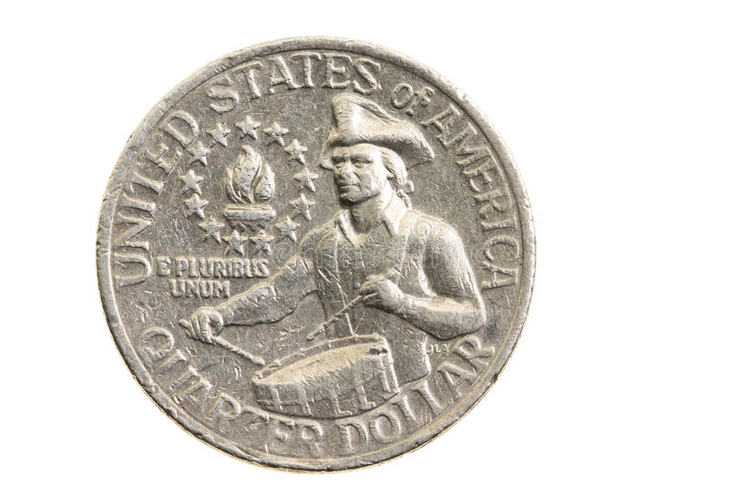 Coin in a quarter of the US dollar. Photographed close-up on white background coin dollar American quarter - twenty-five cents royalty free stock images