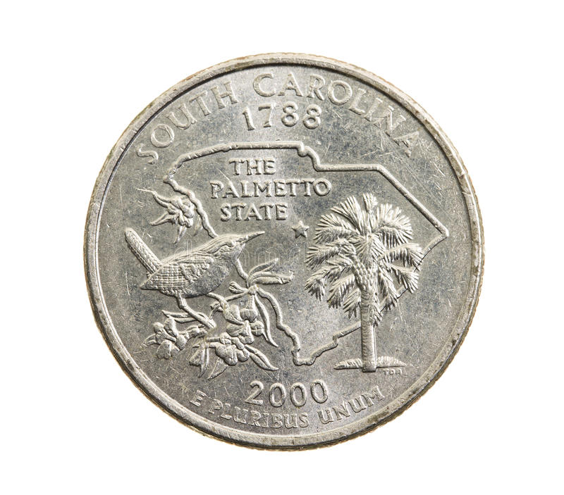 Coin in a quarter of the US dollar stock photography