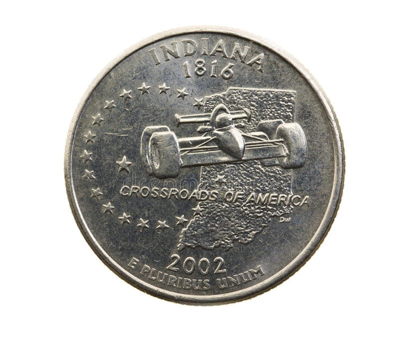 Coin in a quarter of the US dollar royalty free stock photo