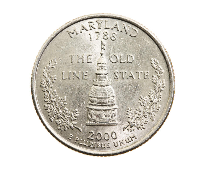 Coin in a quarter of the US dollar. Photographed close-up on white background coin dollar American quarter - twenty-five cents, Maryland stock image
