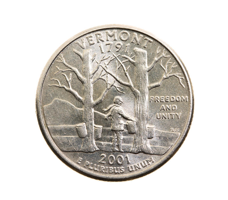 Coin in a quarter of the US dollar. Photographed close-up on white background coin dollar American quarter - twenty-five cents, Vermont stock photo