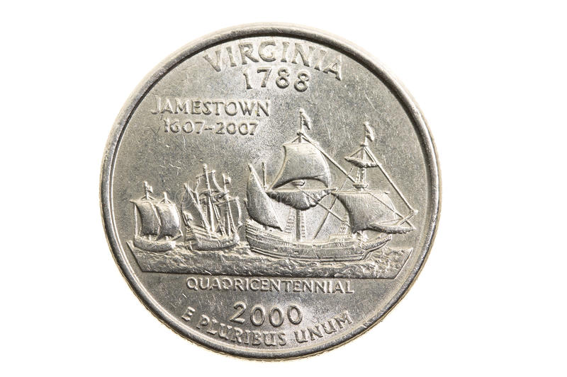 Coin in a quarter of the US dollar stock photo