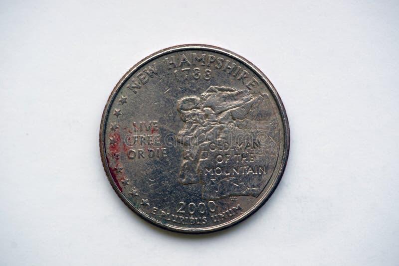 Coin 1/4 Dollar `Washington Quarter` New Hampshire royalty free stock photo