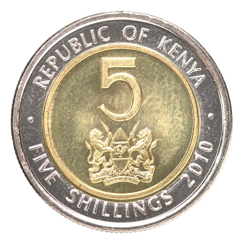 Kenyan Shilling Coin. Coin 5 shilling Kenya isolated on white background stock images