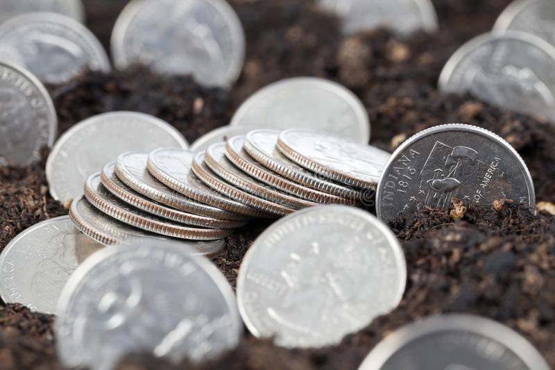 coin in soil royalty free stock image
