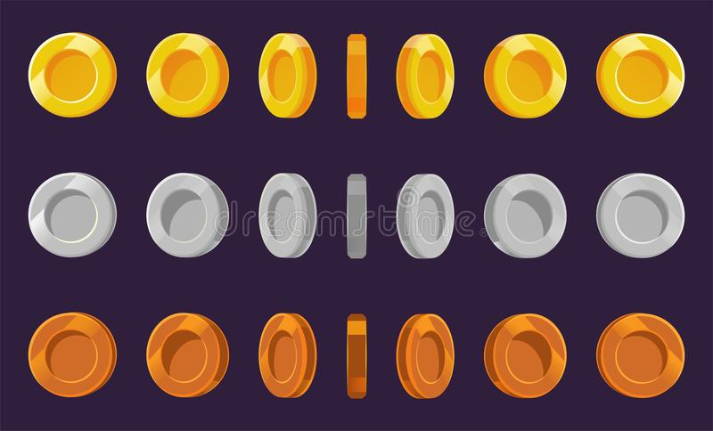 Coin sprite sheet. A set of gold, silver and bronze coins on a purple background. Animation for computer games. Vector illustratio. N. EPS 10 vector illustration